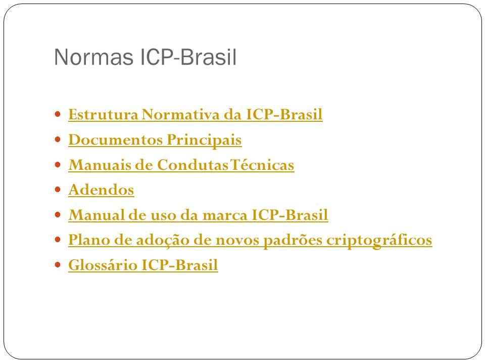 Normas ICP-Brasil Estrutura Normativa da ICP-Brasil Documentos Principais Manuais de Condutas Técnicas Adendos Manual de uso da marca ICP-Brasil Plano de adoção de novos padrões criptográficos Glossário ICP-Brasil