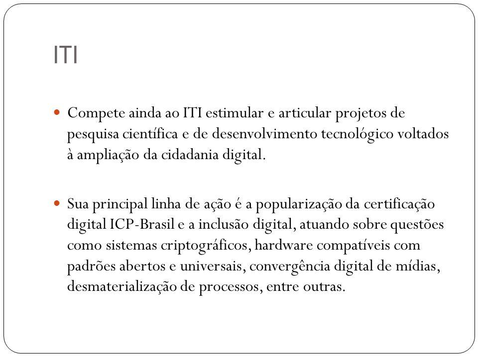 ITI Compete ainda ao ITI estimular e articular projetos de pesquisa científica e de desenvolvimento tecnológico voltados à ampliação da cidadania digi
