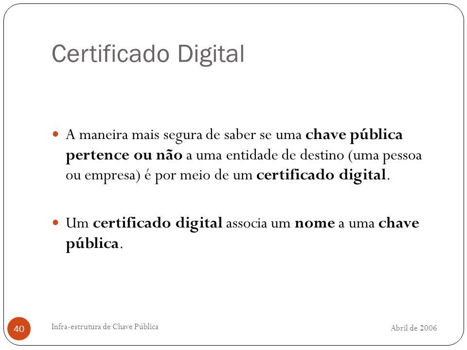 Abril de 2006 Infra-estrutura de Chave Pública 40 Certificado Digital A maneira mais segura de saber se uma chave pública pertence ou não a uma entidade de destino (uma pessoa ou empresa) é por meio de um certificado digital.