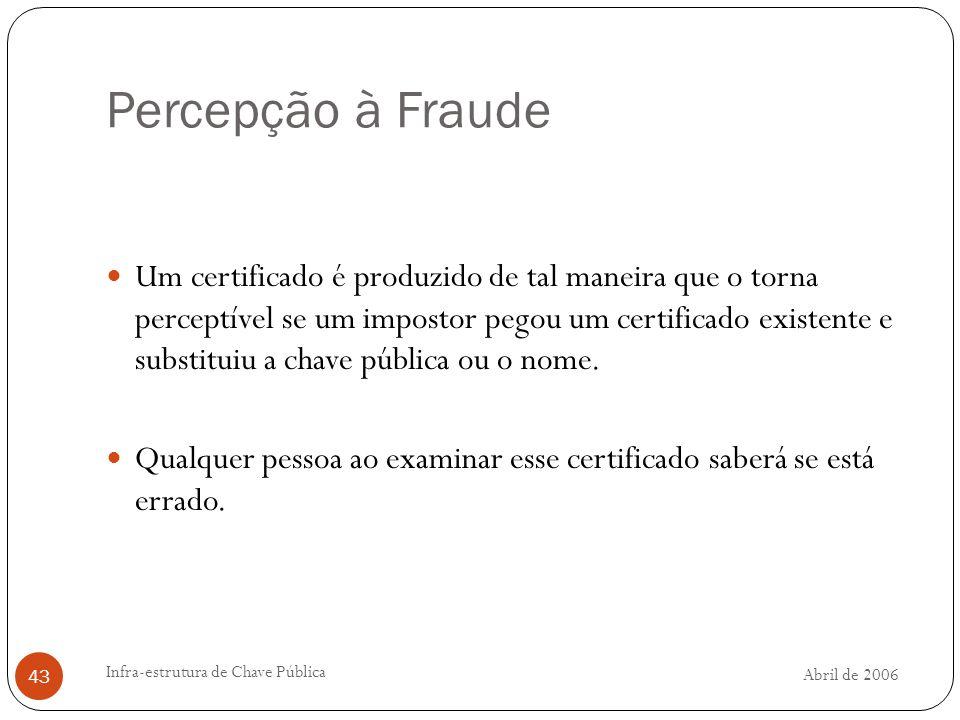 Abril de 2006 Infra-estrutura de Chave Pública 43 Percepção à Fraude Um certificado é produzido de tal maneira que o torna perceptível se um impostor pegou um certificado existente e substituiu a chave pública ou o nome.