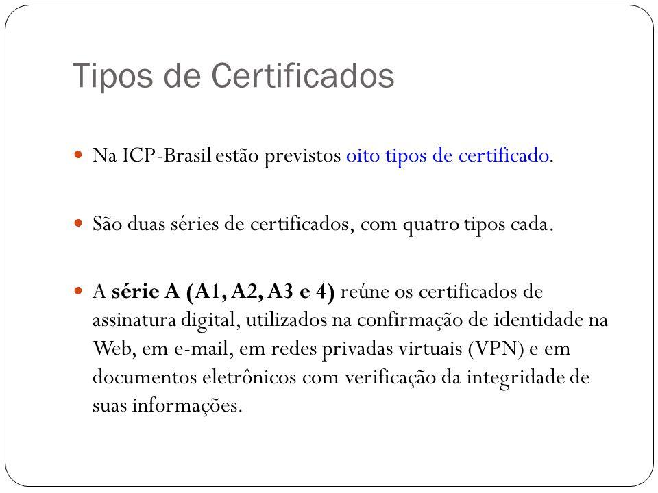 Tipos de Certificados Na ICP-Brasil estão previstos oito tipos de certificado. São duas séries de certificados, com quatro tipos cada. A série A (A1,
