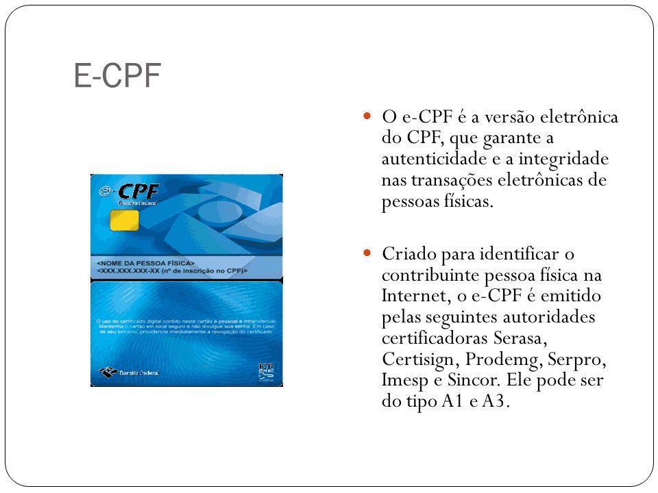 E-CPF O e-CPF é a versão eletrônica do CPF, que garante a autenticidade e a integridade nas transações eletrônicas de pessoas físicas. Criado para ide