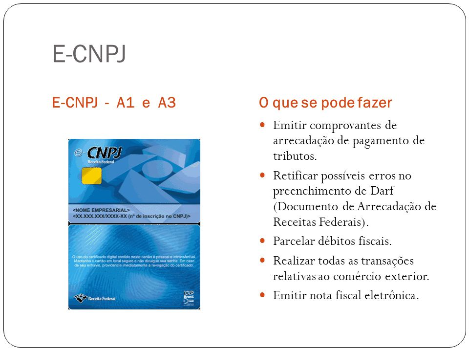 E-CNPJ E-CNPJ - A1 e A3O que se pode fazer Emitir comprovantes de arrecadação de pagamento de tributos. Retificar possíveis erros no preenchimento de