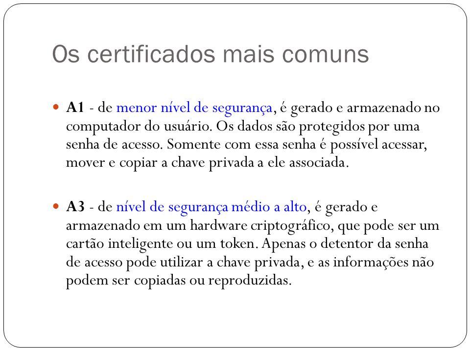 Os certificados mais comuns A1 - de menor nível de segurança, é gerado e armazenado no computador do usuário. Os dados são protegidos por uma senha de