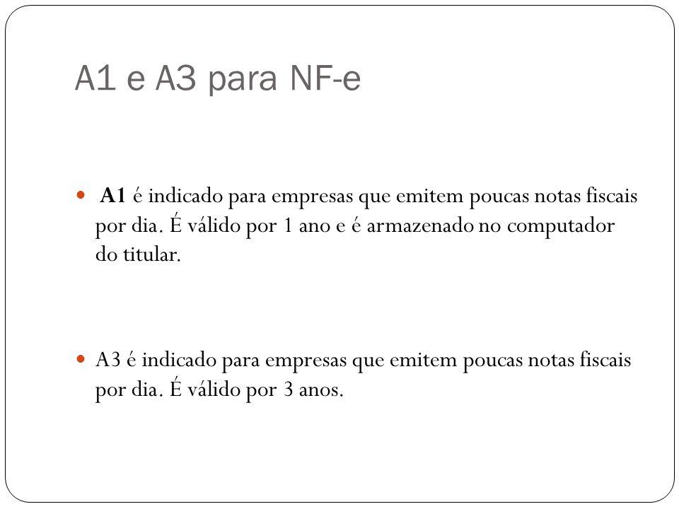 A1 e A3 para NF-e A1 é indicado para empresas que emitem poucas notas fiscais por dia. É válido por 1 ano e é armazenado no computador do titular. A3