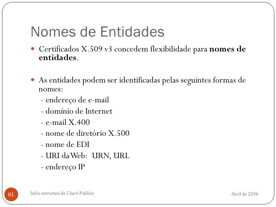 Abril de 2006 Infra-estrutura de Chave Pública 61 Nomes de Entidades Certificados X.509 v3 concedem flexibilidade para nomes de entidades.