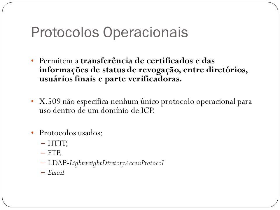 Protocolos Operacionais Permitem a transferência de certificados e das informações de status de revogação, entre diretórios, usuários finais e parte verificadoras.