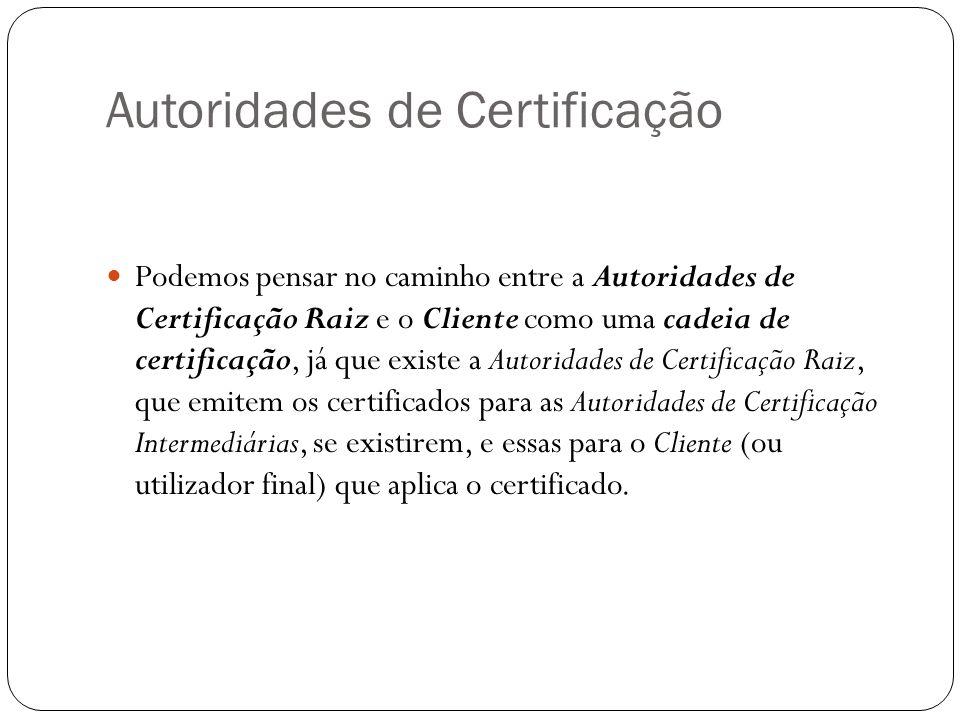 Autoridades de Certificação Podemos pensar no caminho entre a Autoridades de Certificação Raiz e o Cliente como uma cadeia de certificação, já que existe a Autoridades de Certificação Raiz, que emitem os certificados para as Autoridades de Certificação Intermediárias, se existirem, e essas para o Cliente (ou utilizador final) que aplica o certificado.