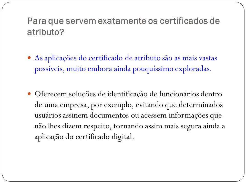 Para que servem exatamente os certificados de atributo? As aplicações do certificado de atributo são as mais vastas possíveis, muito embora ainda pouq
