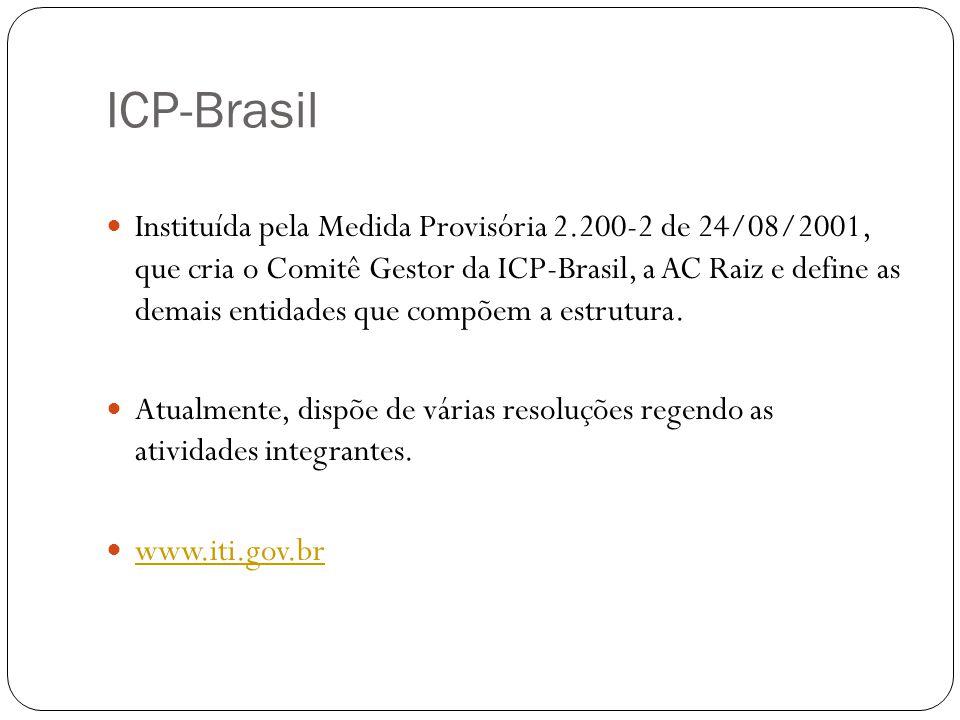 ICP-Brasil Instituída pela Medida Provisória 2.200-2 de 24/08/2001, que cria o Comitê Gestor da ICP-Brasil, a AC Raiz e define as demais entidades que
