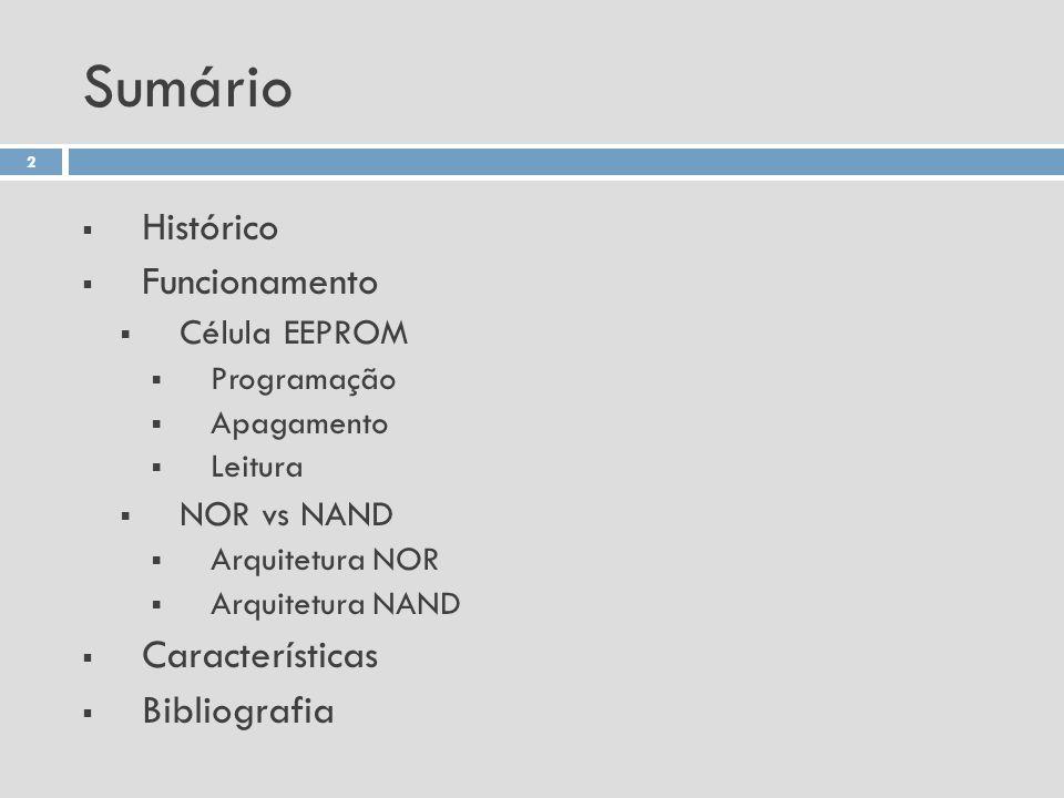Sumário Histórico Funcionamento Célula EEPROM Programação Apagamento Leitura NOR vs NAND Arquitetura NOR Arquitetura NAND Características Bibliografia