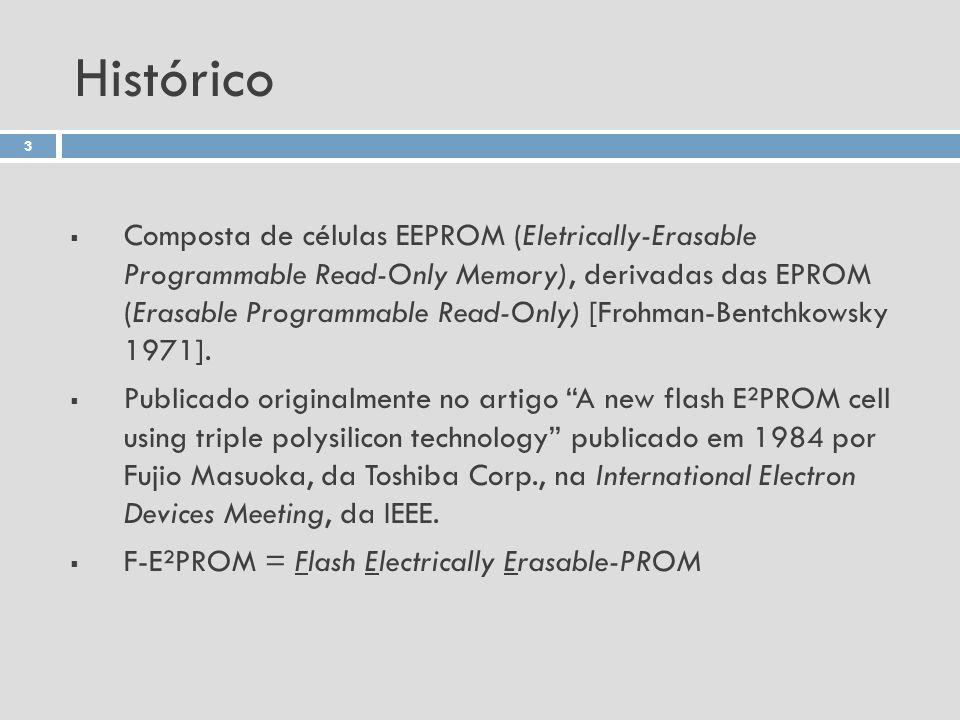 Histórico Composta de células EEPROM (Eletrically-Erasable Programmable Read-Only Memory), derivadas das EPROM (Erasable Programmable Read-Only) [Froh