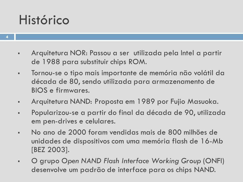Histórico Arquitetura NOR: Passou a ser utilizada pela Intel a partir de 1988 para substituir chips ROM. Tornou-se o tipo mais importante de memória n