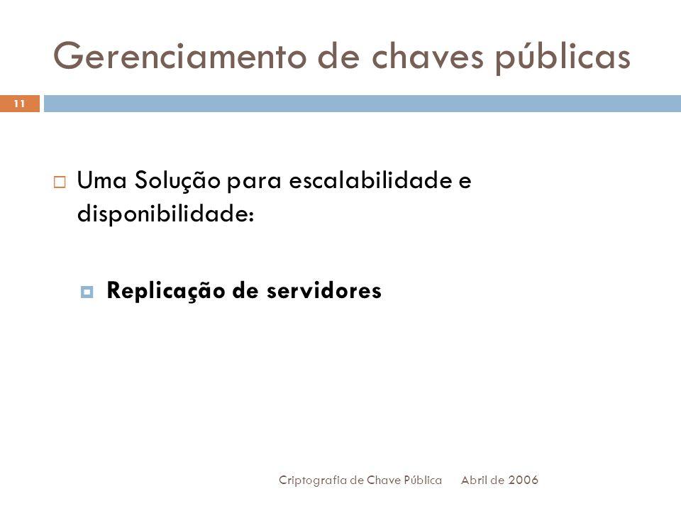 Gerenciamento de chaves públicas Abril de 2006 Criptografia de Chave Pública 11 Uma Solução para escalabilidade e disponibilidade: Replicação de servidores