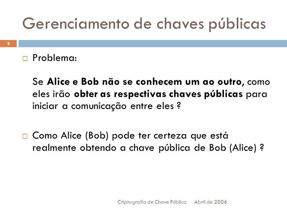 Gerenciamento de chaves públicas Abril de 2006 Criptografia de Chave Pública 2 Problema: Se Alice e Bob não se conhecem um ao outro, como eles irão obter as respectivas chaves públicas para iniciar a comunicação entre eles .