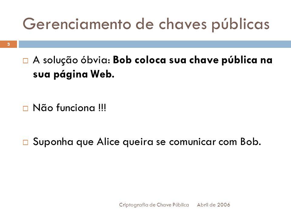 Gerenciamento de chaves públicas Abril de 2006 Criptografia de Chave Pública 4 Alice, então, precisa pesquisar a chave pública de Bob na página dele.