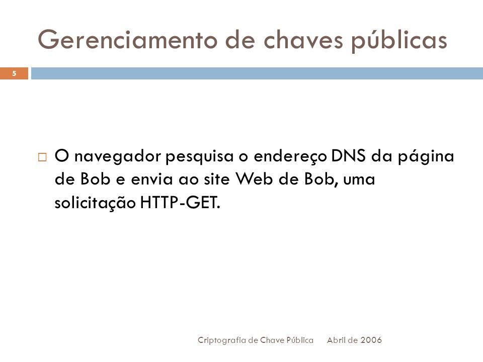 Gerenciamento de chaves públicas Abril de 2006 Criptografia de Chave Pública 5 O navegador pesquisa o endereço DNS da página de Bob e envia ao site Web de Bob, uma solicitação HTTP-GET.