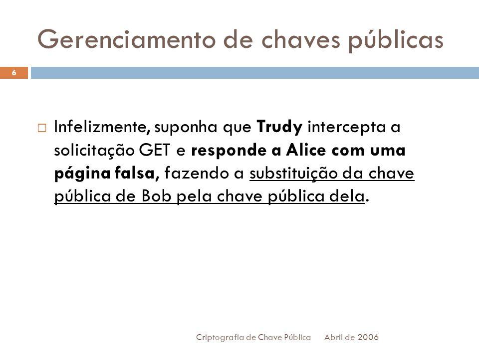 Gerenciamento de chaves públicas Abril de 2006 Criptografia de Chave Pública 7 Quando Alice envia sua primeira mensagem criptografada, será com E T (a chave pública de Trudy).