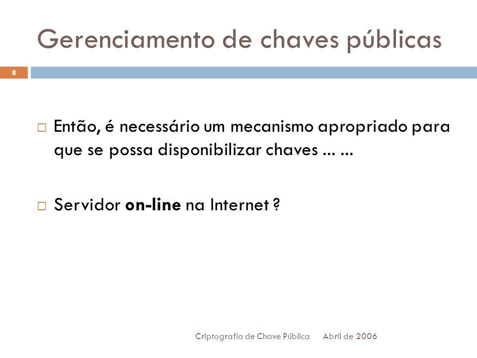 Gerenciamento de chaves públicas Abril de 2006 Criptografia de Chave Pública 9 Só que não pode existir apenas um servidor on-line...