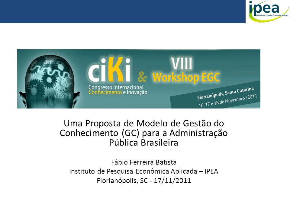 Uma Proposta de Modelo de Gestão do Conhecimento (GC) para a Administração Pública Brasileira Fábio Ferreira Batista Instituto de Pesquisa Econômica A