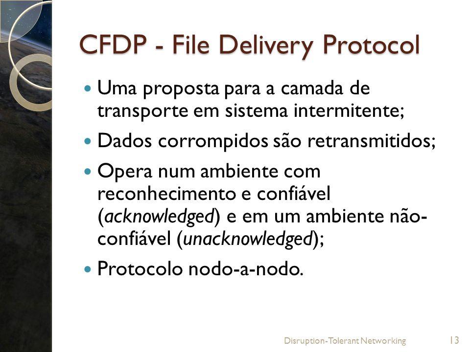 CFDP - File Delivery Protocol Uma proposta para a camada de transporte em sistema intermitente; Dados corrompidos são retransmitidos; Opera num ambien