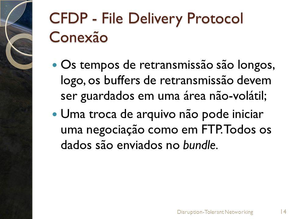 CFDP - File Delivery Protocol Conexão Os tempos de retransmissão são longos, logo, os buffers de retransmissão devem ser guardados em uma área não-vol