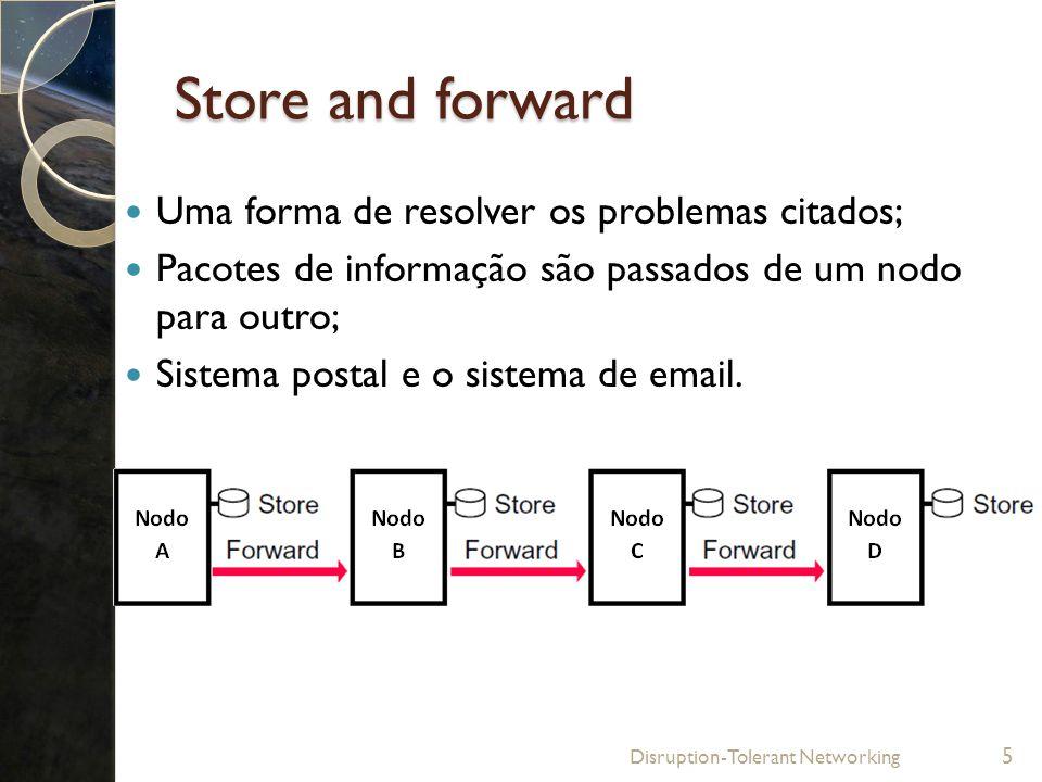 Store and forward Uma forma de resolver os problemas citados; Pacotes de informação são passados de um nodo para outro; Sistema postal e o sistema de