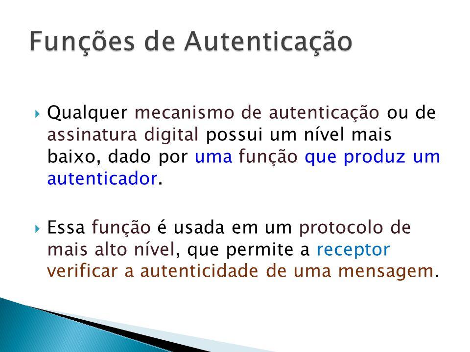 Qualquer mecanismo de autenticação ou de assinatura digital possui um nível mais baixo, dado por uma função que produz um autenticador.