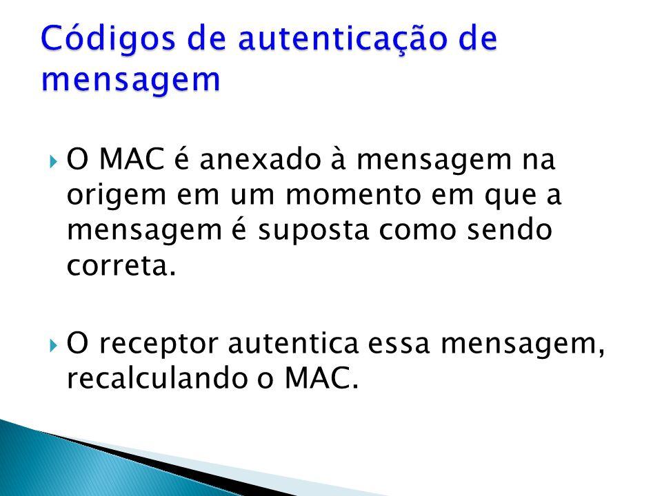 O MAC é anexado à mensagem na origem em um momento em que a mensagem é suposta como sendo correta.