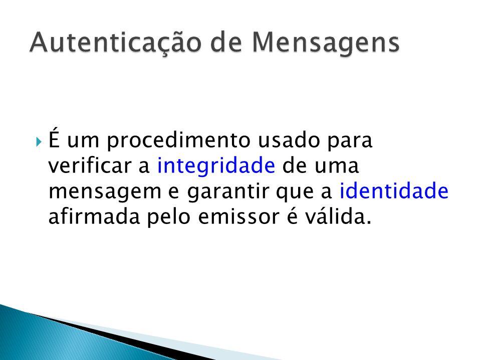 É um procedimento usado para verificar a integridade de uma mensagem e garantir que a identidade afirmada pelo emissor é válida.