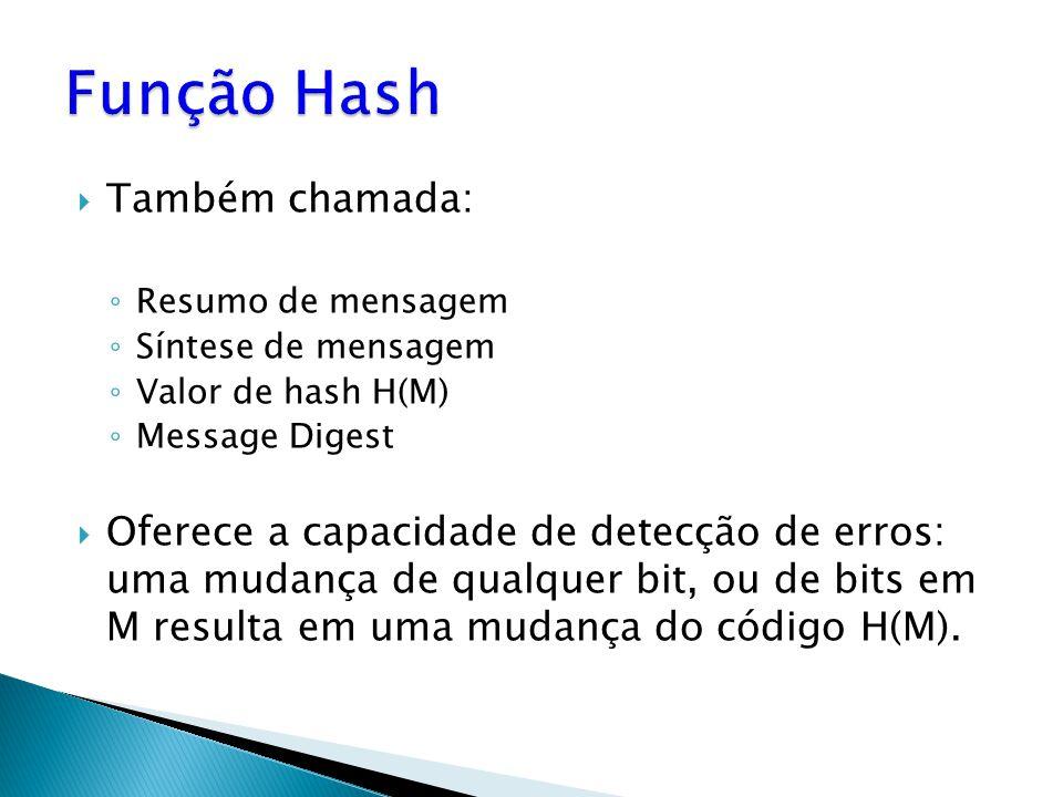 Também chamada: Resumo de mensagem Síntese de mensagem Valor de hash H(M) Message Digest Oferece a capacidade de detecção de erros: uma mudança de qualquer bit, ou de bits em M resulta em uma mudança do código H(M).