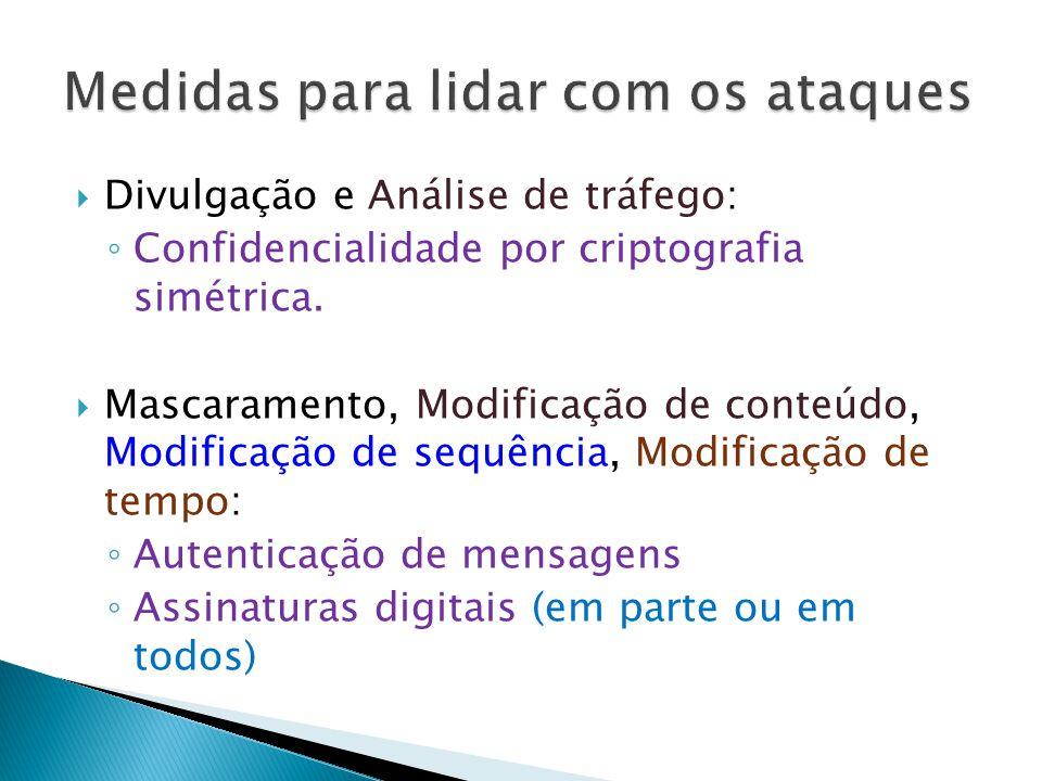 Divulgação e Análise de tráfego: Confidencialidade por criptografia simétrica.