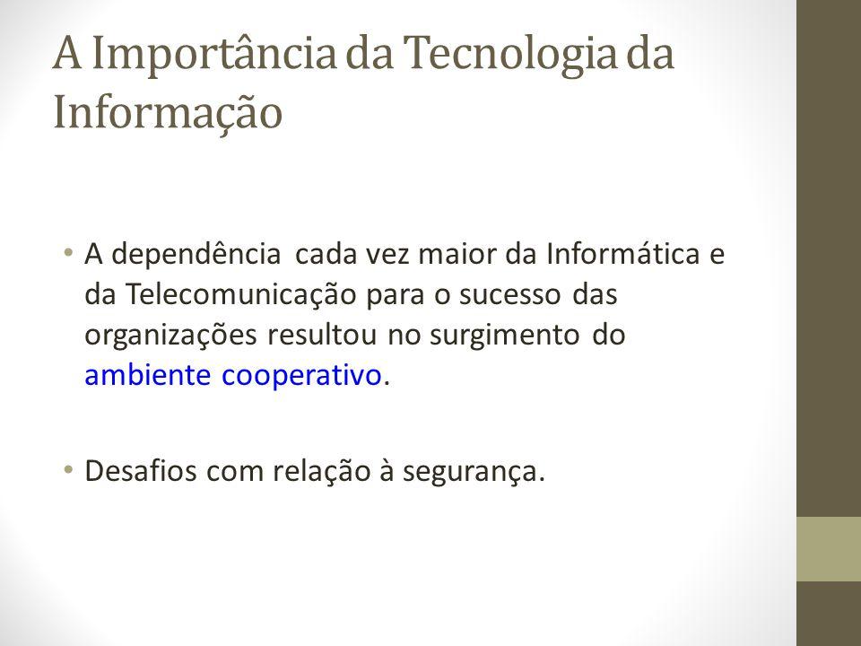 A Importância da Tecnologia da Informação A dependência cada vez maior da Informática e da Telecomunicação para o sucesso das organizações resultou no