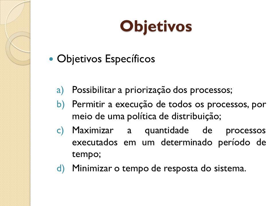 Objetivos Objetivos Específicos a)Possibilitar a priorização dos processos; b)Permitir a execução de todos os processos, por meio de uma política de distribuição; c)Maximizar a quantidade de processos executados em um determinado período de tempo; d)Minimizar o tempo de resposta do sistema.