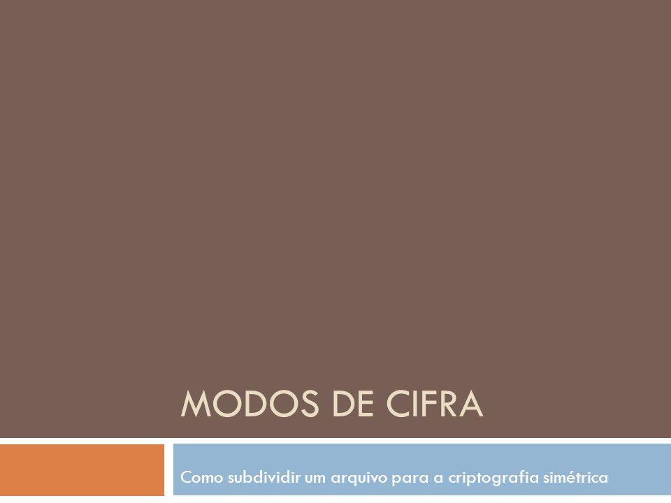 Modos de Cifra 2 Electronic Code Book – ECB Cipher Block Chaining – CBC Cipher FeedBack – CFB Output FeedBack – OFB Stream Cipher Mode – SCM (modo de cifra de fluxo) Counter Mode – CTR (Modo de Contador)