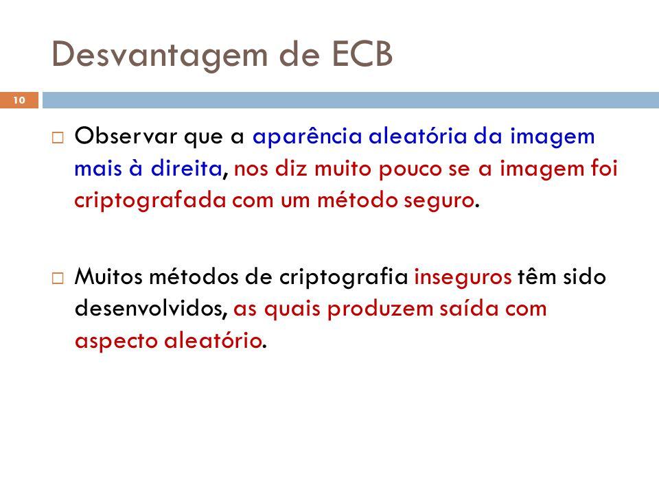 Desvantagem de ECB 10 Observar que a aparência aleatória da imagem mais à direita, nos diz muito pouco se a imagem foi criptografada com um método seguro.