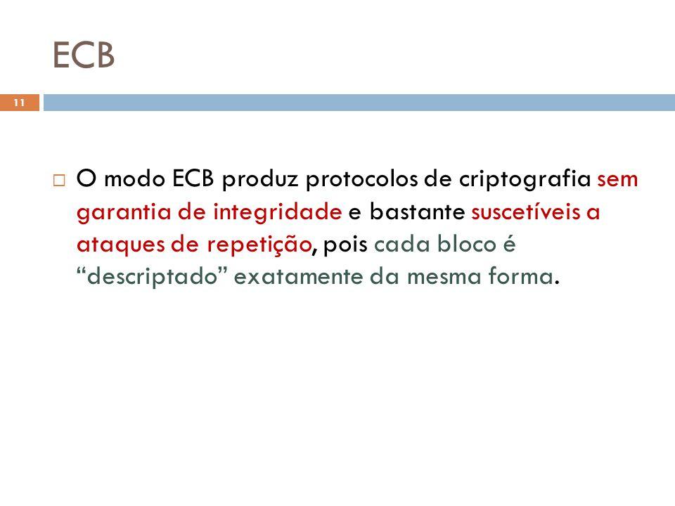 ECB 11 O modo ECB produz protocolos de criptografia sem garantia de integridade e bastante suscetíveis a ataques de repetição, pois cada bloco é descriptado exatamente da mesma forma.