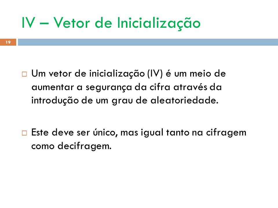 IV – Vetor de Inicialização 19 Um vetor de inicialização (IV) é um meio de aumentar a segurança da cifra através da introdução de um grau de aleatoriedade.