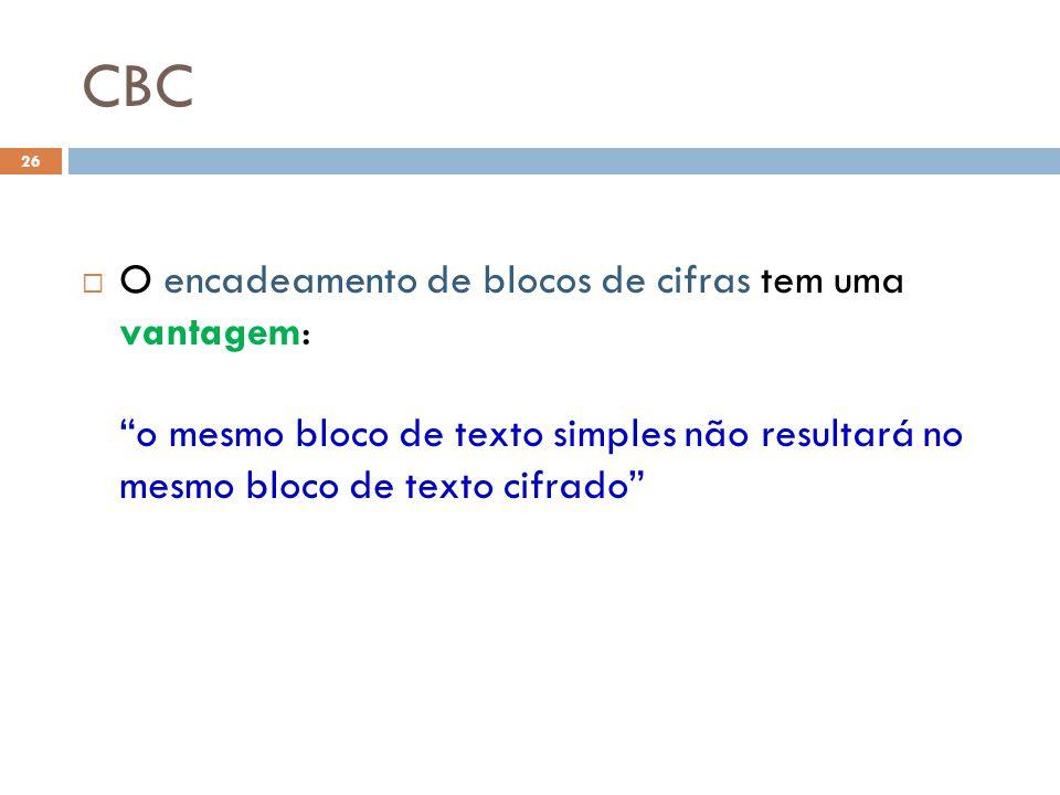 CBC 26 O encadeamento de blocos de cifras tem uma vantagem: o mesmo bloco de texto simples não resultará no mesmo bloco de texto cifrado