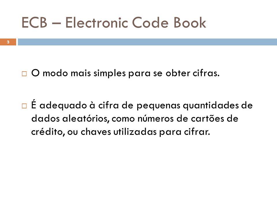 CBC 24 No CBC, a criptografia de um bloco i é uma função de todo texto simples contido nos blocos 0 a i-1.
