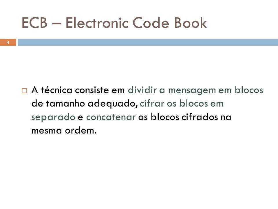 ECB – Electronic Code Book 4 A técnica consiste em dividir a mensagem em blocos de tamanho adequado, cifrar os blocos em separado e concatenar os blocos cifrados na mesma ordem.