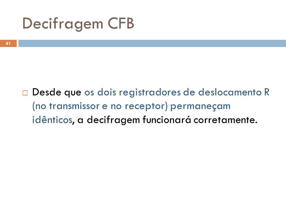 Decifragem CFB 41 Desde que os dois registradores de deslocamento R (no transmissor e no receptor) permaneçam idênticos, a decifragem funcionará corretamente.