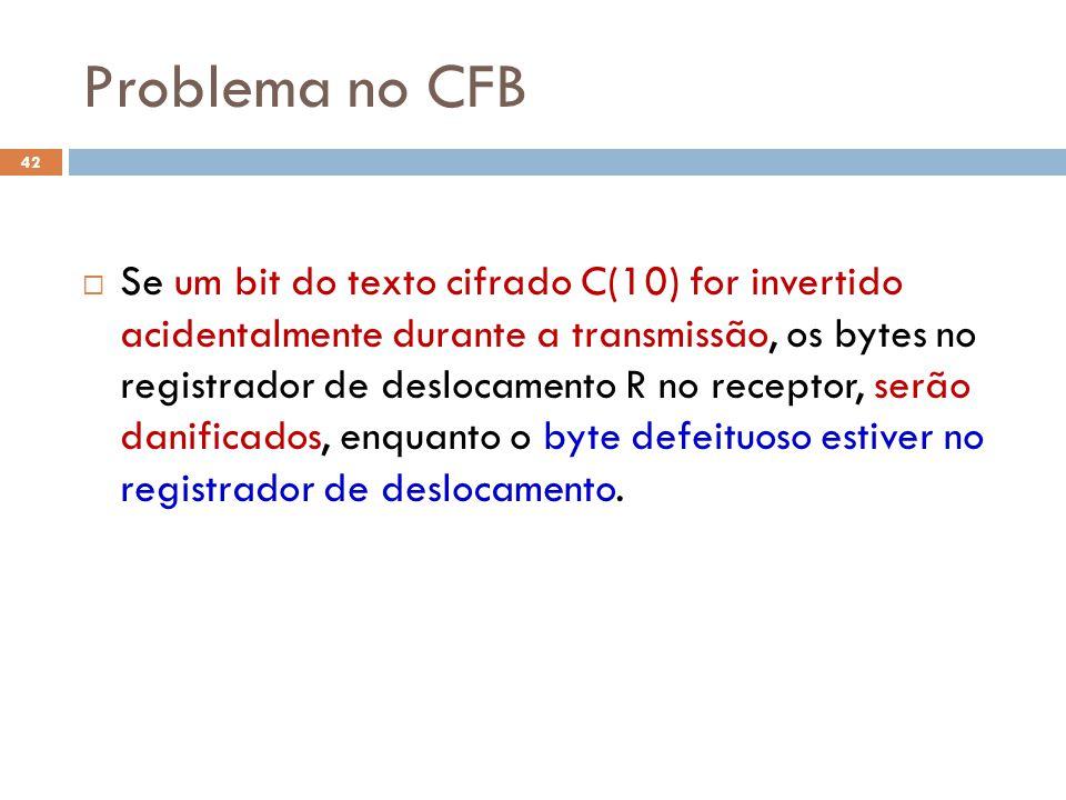 Problema no CFB 42 Se um bit do texto cifrado C(10) for invertido acidentalmente durante a transmissão, os bytes no registrador de deslocamento R no receptor, serão danificados, enquanto o byte defeituoso estiver no registrador de deslocamento.