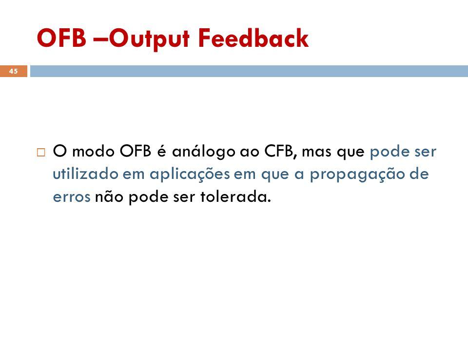 OFB –Output Feedback 45 O modo OFB é análogo ao CFB, mas que pode ser utilizado em aplicações em que a propagação de erros não pode ser tolerada.