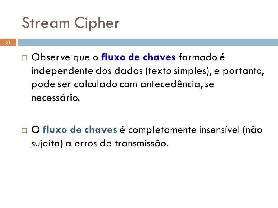 Stream Cipher 51 Observe que o fluxo de chaves formado é independente dos dados (texto simples), e portanto, pode ser calculado com antecedência, se necessário.