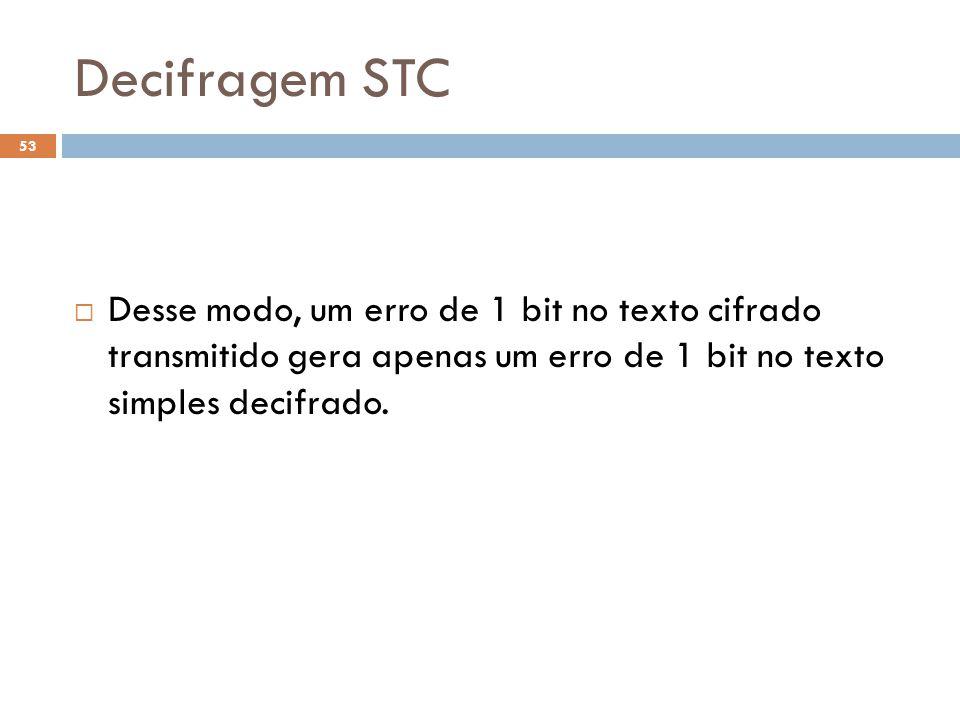 Decifragem STC 53 Desse modo, um erro de 1 bit no texto cifrado transmitido gera apenas um erro de 1 bit no texto simples decifrado.