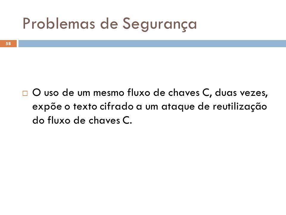 Problemas de Segurança 58 O uso de um mesmo fluxo de chaves C, duas vezes, expõe o texto cifrado a um ataque de reutilização do fluxo de chaves C.