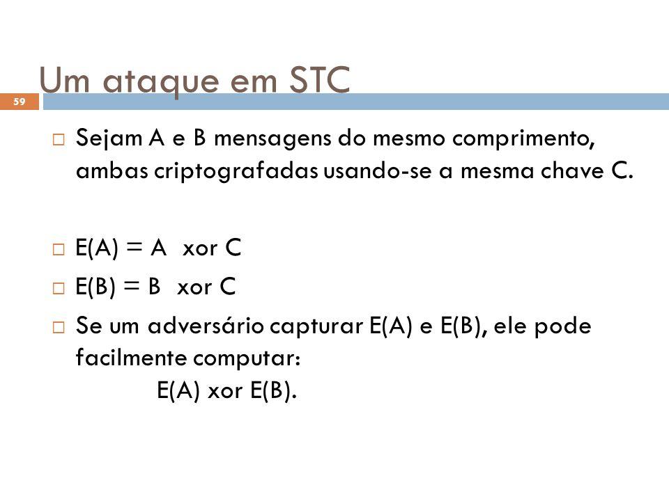 Um ataque em STC 59 Sejam A e B mensagens do mesmo comprimento, ambas criptografadas usando-se a mesma chave C.