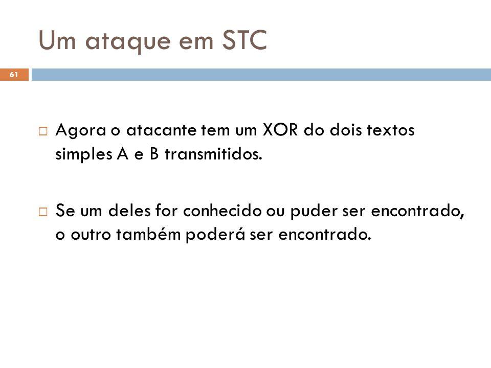 Um ataque em STC 61 Agora o atacante tem um XOR do dois textos simples A e B transmitidos.