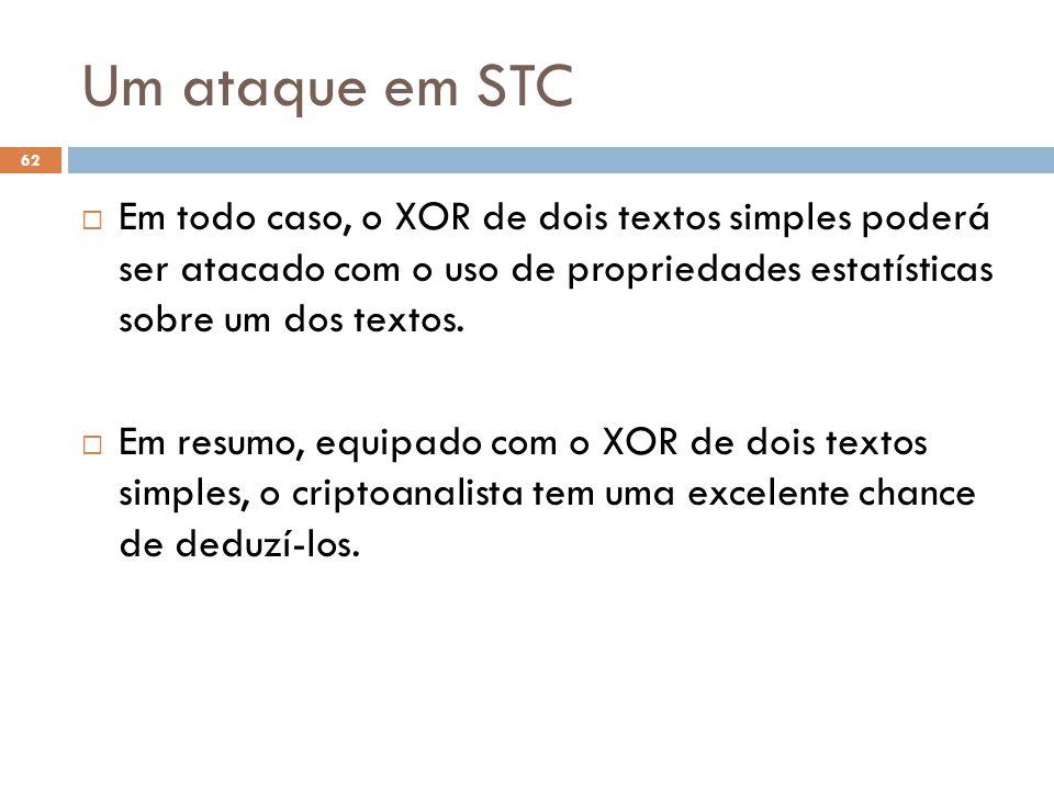Um ataque em STC 62 Em todo caso, o XOR de dois textos simples poderá ser atacado com o uso de propriedades estatísticas sobre um dos textos.